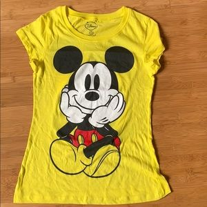 Yellow Double Sided Mickey Mouse Graphic Tee